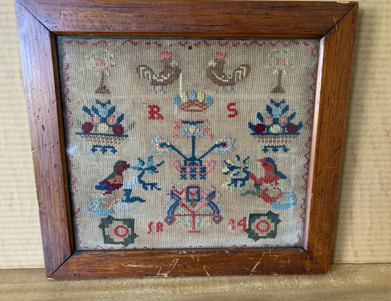 """Antique  1884 Needlework Sampler  Bird Flowers Basket Roosters 13"""" X 14"""" Framed"""