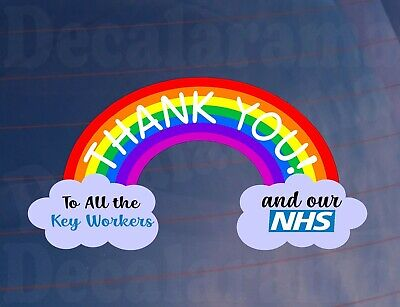 Car Sticker THANK YOU NHS & KEYWORKERS Rainbow Van House Window Bumper Decal