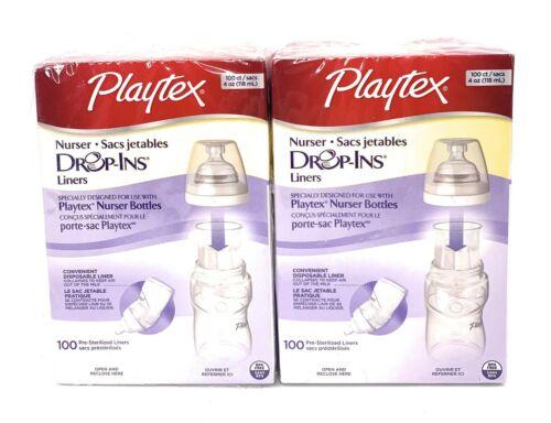 Playtex Nurser Drop-Ins Pre-Sterilized Disposable Bottle Liners 4 oz 100ct x 2