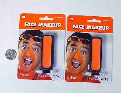2-pack of Amscan Orange Cream Face Makeup for Team Spirit or - Body Painting For Halloween Costumes
