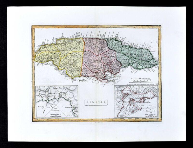 1839 Bell Map - Jamaica - Port Royal Kingston - Bluefields Harbor - Montego Bay