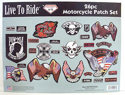 Live To Ride 26 pc Embroidered Motorcycle Patch Set Diamond Plate