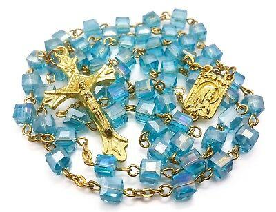 Rosary Turquoise Medal (Square Turquoise Crystal Beads Rosary Catholic Necklace Lourdes Medal Crucifix )