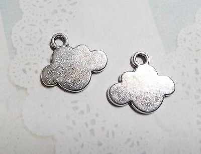 4 Cloud Charms Metal Stamping Blanks Jewelry Supplies Antiqued Silver Pendants - Jewelry Stamping Supplies