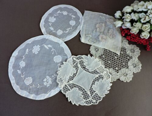 5 Vintage Madeira doilies with  floral embroidery and lace