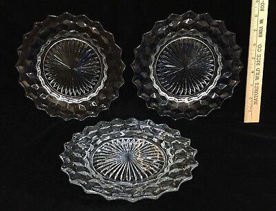 Crystal Glass Plates Salad Dessert Starburst Center Scalloped Edge Set of (Crystal Glass Plates)