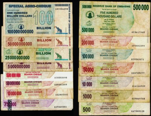 500 to 100 Billion Zimbabwe Dollars Banknote Set of 15 Banknotes / Denominations