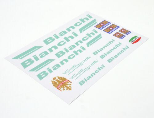 BIANCHI Decals Sticker Aufkleber Dekor 16-teilig Set Rennrad road bike - celeste
