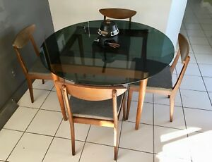 Teck et verre Vintage Table teak &glass