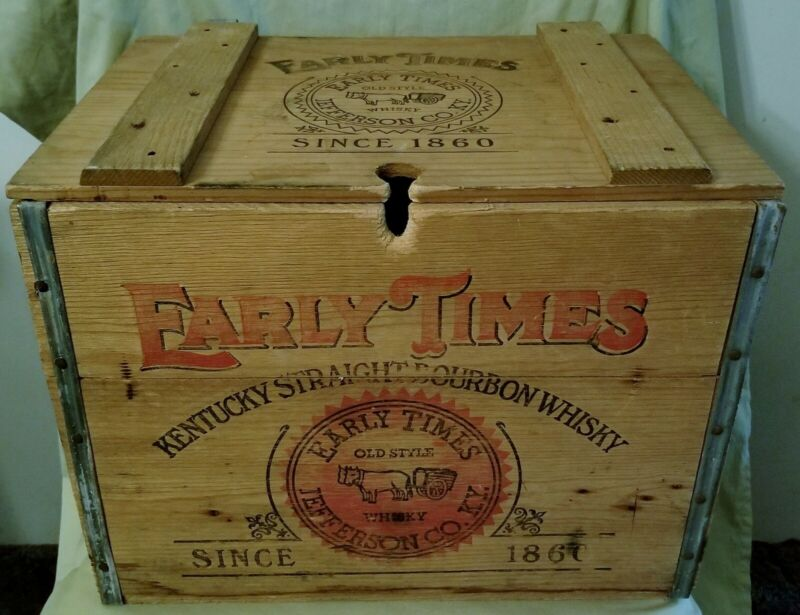 EARLY TIMES KENTUCKY STRAIGHT BOURBON WHISKEY WOOD BOX CRATE DECOR W/HINGED LID