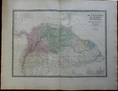 Colombia Venezuela Ecuador Guyana c. 1830's Brue large detailed map hand color