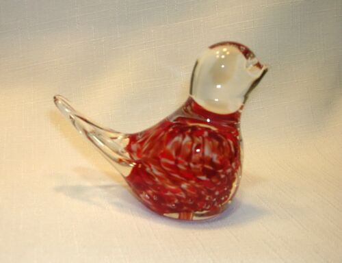 Gibson 1987 Art Glass Red Bird Paperweight Stamped Woven Swirl Pattern