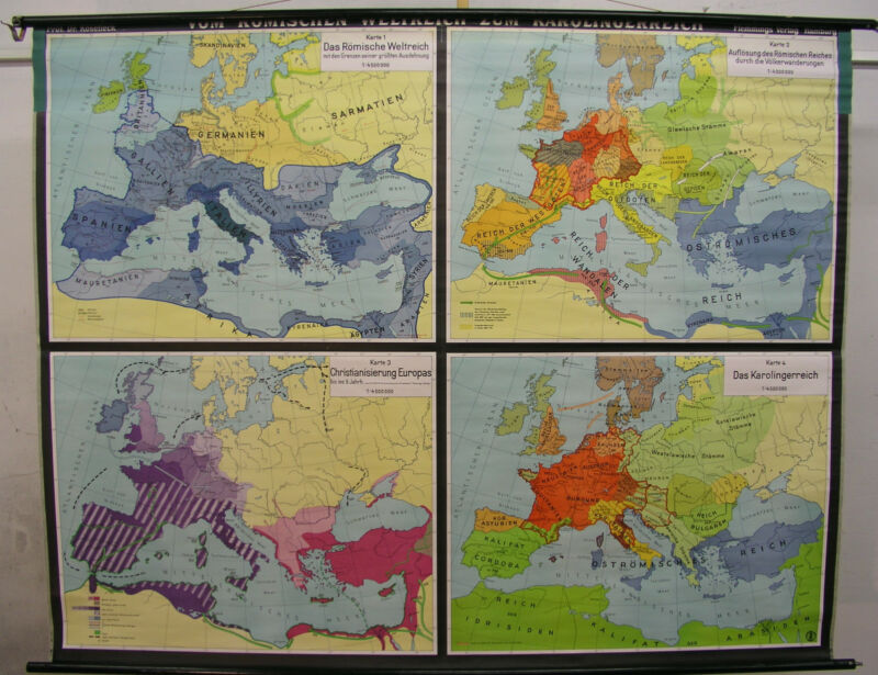 Schulwandkarte Wall Map School Map Card Roman Rich - Carolingian 206x162