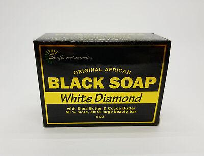 New ! Original African Black Soap White Diamond by SunflowerCosmetics Shea Cocoa ()
