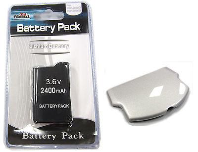 Psp Slim Replacement Battery - PSP 2000 (SLIM) Replacement Battery Pack 3.6v 2400mAh + Silver Battery Cover Set