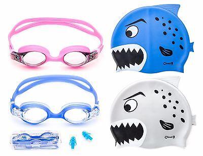 Kids Swimming Goggles Adjustable Anti Fog and Shark Designed Swim Cap Combo Pack - Cap And Goggles