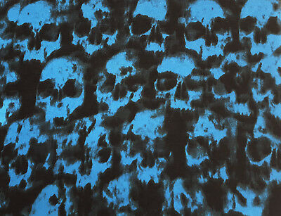Cotton Jersey Knit Skull Print Fabric by the Yard Black Blue 3/18