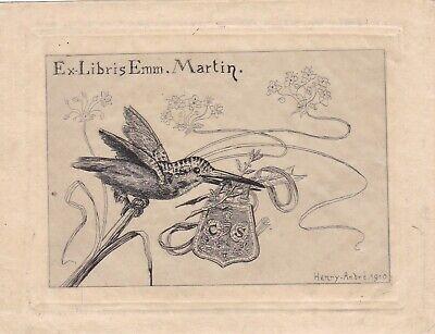 ✒ EX LIBRIS Emmanuel MARTIN par HENRY-ANDRE - rare épreuve sur papier JAPON