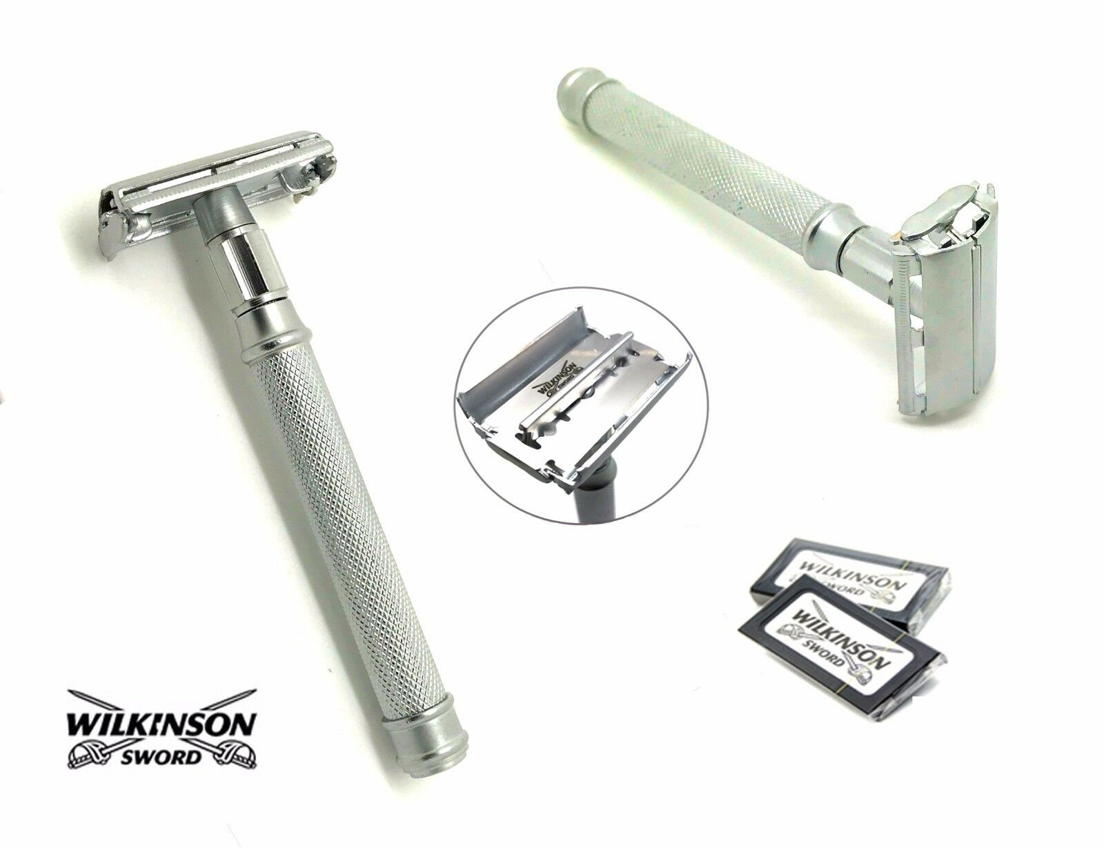 Wilkinson Butterfly Safety Razor & 10 Double Edge Blades Classic Shaving & POUCH