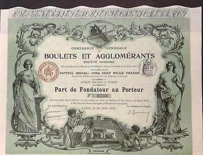 Boulets et Agglomerants, Gründeraktie 1912, Jugendstil, DEKO