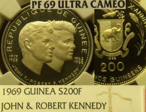 Guinea 1969 200 Francs John & Robert Kennedy~NGC Proof 69 UC~Highest~20k Minted~