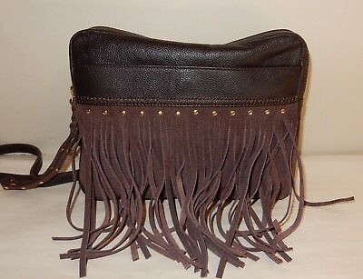 Muxo by Camila Alves Soft Pebble Leather Fringe Crossbody in Chocolate