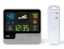 AcuRite Digital Wireless Weather Station Temperature Alarm Clock USB Charger