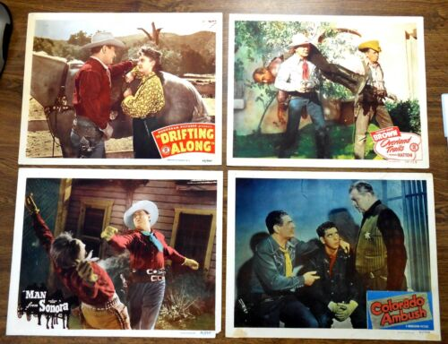 Orig. Rare Johnny Mack Brown Cowboy Star Vintage Set 4 Circa 1945 Lobby Cards