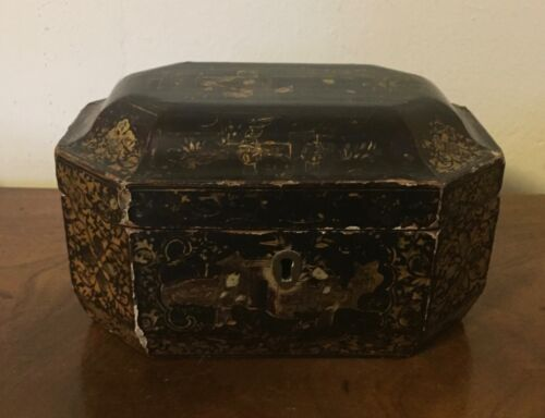 Antique Chinese Export Black Lacquer and Gilt Wood Box or Tea Caddy 19th century