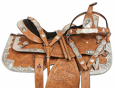16 17 SILVER BLING WESTERN SHOW EQUITATION PLEASURE LEATHER HORSE SADDLE TACK