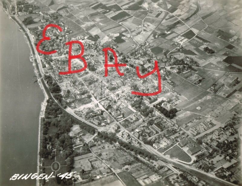 WWII 8X10 AERIAL RECON PHOTO 8TH USAAF DESTRUCTION OF BINGEN GERMANY COASTLINE