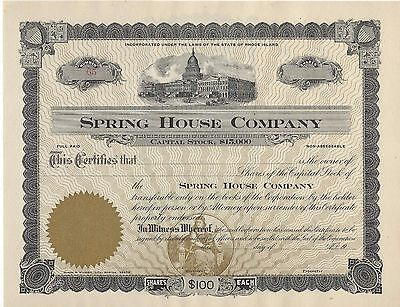 1912 Block Island Rhode Island Spring House Stock Certificate + Receipt