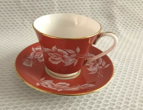 AYNSLEY ORANGE  GOLD TRIM WHITE ROSES DEMI TASSE SMALL CUP SAUCER