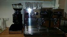 2 Group Espresso Machine with 2 filters, 2 milk jugs, bean grinder and knock box