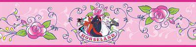 Peel-stick-border (RoomMates Horseland Peel & Stick Border Pink Horse Wallpaper)