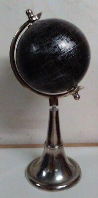 Two Tone Spinning Black World Tabletop Globe on Metal Base 15