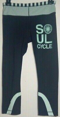 Sz 6 Lululemon SoulCycle Run Inspire Crop Luxtreme Black Green Stripes - EUC
