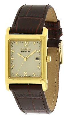 Citizen Men's BW007207P Goldtone Stainless Steel Brown Leather Watch