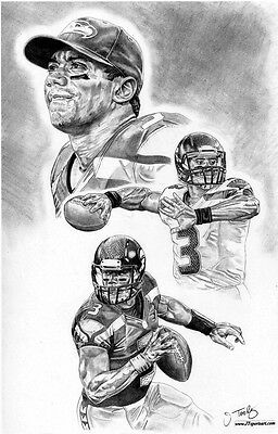 Russell Wilson Of Seattle Seahawks Sketch Art Poster Drawing