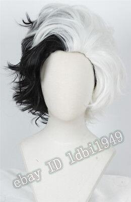Cruella De Vil Wig One 101 Dalmatians Halloween Short Cosplay Wig