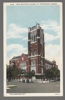 [49614] OLD POSTCARD FIRST METHODIST CHURCH IN ST. PETERSBURG, FLORIDA