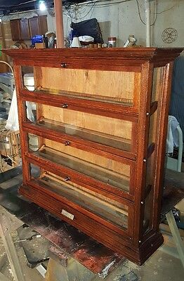 ANTIQUE TIGER OAK GENERAL STORE RIBBON DISPLAY CABINET BY THE A.N.RUSSEL & SONS