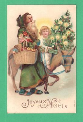 1906 CHRISTMAS POSTCARD SANTA CLAUS GREEN COAT CHRISTKINDLE DONKEY TREE COOKIE