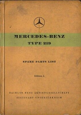 Mercedes Benz 219 Ponton 1956 Original Spare Parts List In English