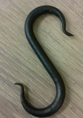 Hand Forged S hook Beeswaxed hanging butchers hook 100 mm 4 inch handmade