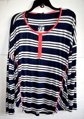 - MINE TOO 3X NAVY/Wt/Coral STRIPE SCOOP-NECK Stretch KNIT TOP Rayon/Poly L/S NWT