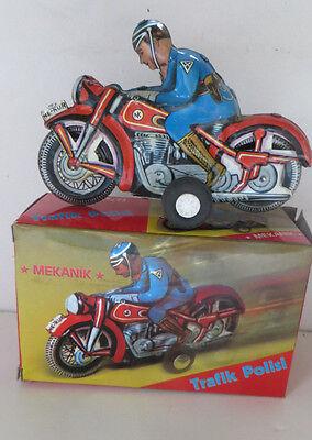 POLICE MOTORCYCLE  - BOXED 1960'S NE-KUR TURKEY - TINPLATE - SCARCE