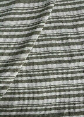 KHAKI AND ECRU STRIPED STRETCH  KNIT FABRIC-SOLD BY THE METER