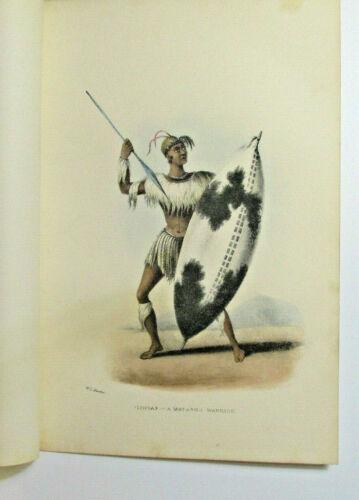 "William Cornwallis Harris ""Lingap - A Matabili Warrior"" 1852 Africa Lithograph"