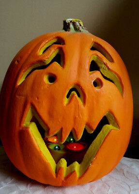 Vtg. Halloween Scary Faced Jack O Lantern Pumpkin LED Lighted 4 different colors - Halloween Pumpkin Faces Coloring